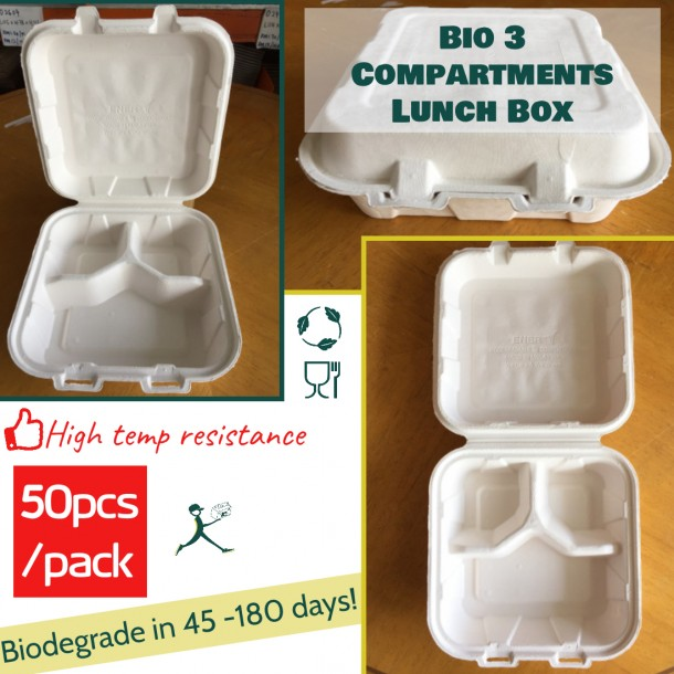 Biodegradable 3 Compartments Lunch Box