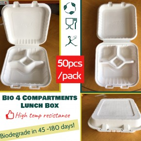 Biodegradable 4 Compartments Lunch Box