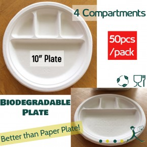 Disposable 4 Compartments Plate